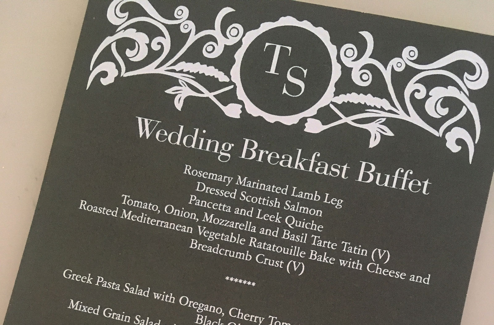 Suffolk catering sample menu